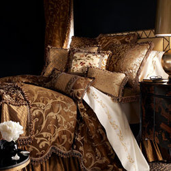 Sweet Dreams Gold Leaf Bed Linens - Golden/bronze jacquards, diamond-patterned silk were used to create bedding fit for a King.  Sweet Dream Gold Leaf linens are bold and rich in detail.