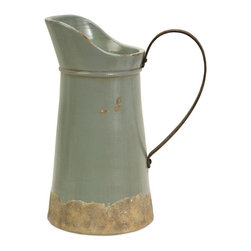 iMax - iMax Calista Tall Pitcher with Metal Handle X-20067 - A pale aqua rustic ceramic pitcher has a natural quality like a handmade collectible piece from ancient civilizations. This piece is highly versatile and well suited for a variety of decor.