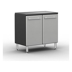 Ulti-Mate - Ulti-MATE Garage Pro 2-door Base Cabinet - Add extra storage to your garage with this two-door oversized base cabinet from Ulti-MATE. This durable wooden cabinet gives you space to organize tools or other items, and the chrome finish blends flawlessly with any workspace design.