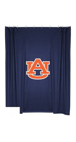 Sports Coverage - Auburn Tigers Shower Curtain - This 72 x 72 officially licensed Auburn University Tigers shower curtain of jersey material with logo is perfect for any bathroom in need of a little extra team spirit. It weighs approximately one pound and is screen printed with Plastisol. Shower Curtain is 100% Polyester Jersey