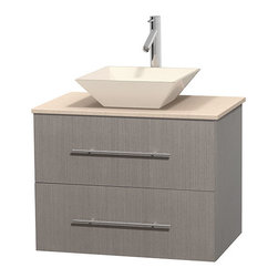 """Wyndham Collection - Centra 30"""" Grey Oak Single Vanity, Ivory Marble Top, Pyra Bone Porcelain Sink - Simplicity and elegance combine in the perfect lines of the Centra vanity by the Wyndham Collection. If cutting-edge contemporary design is your style then the Centra vanity is for you - modern, chic and built to last a lifetime. Available with green glass, pure white man-made stone, ivory marble or white carrera marble counters, with stunning vessel or undermount sink(s) and matching mirror(s). Featuring soft close door hinges, drawer glides, and meticulously finished with brushed chrome hardware. The attention to detail on this beautiful vanity is second to none."""