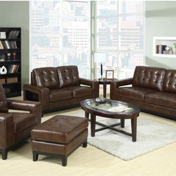 Coaster Modern Brown Leather Sofa Couch Loveseat Arm Chair Unique Arm - Style meets function. Add the paige collection to your living room for a sophisticated and casual style. Featuring plush high resiliency foam cushions, tufting on the back and seats and a solid wood frame around the base. What sets this sofa collection apart is the unique and convenient storage compartments on the outside of each side arm.
