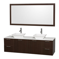 Wyndham Collection - Wall Mount Vanity Set with Sink in White - Includes mirror, drain assemblies and P-traps for easy assembly. Faucet not included. Modern clean lines. Two functional doors. Four functional drawers. Eight stage preparation. Veneering and finishing process. Highly water-resistant low V.O.C. sealed finish. Unique and striking contemporary design. Modern wall mount design. Deep doweled drawers. Fully-extending soft-close drawer slides. Soft close door hinges. Single-hole faucet mount. White man made stone top. Plenty of storage space. Engineered for durability, and to prevent warping and last a lifetime. 0.75 in. thickness. Made from highest quality grade E1 MDF. Metal exterior hardware with brushed chrome finish. Espresso finish. Minimal assembly required. Mirror: 70 in. W x 33 in. H. Vanity: 72 in. W x 22.25 in. D x 21.25 in. H. Care Instructions. Assembly Instructions - Sink. Assembly Instructions - MirrorTruly elegant design aesthetic meet affordability in the Wyndham Collection Amare Vanity. The attention to detail on this elegant contemporary vanity is unrivalled.