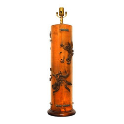 Antique Wallpaper Roller Table Lamp - Antique wallpaper roller lamp made from a textile fabric printer cylinder. Brass metal was formed onto large wood cylinders to produce prints on fabric and wallpaper. These have been converted to beautiful sculptures of a past industrial age. 19th Century conversation pieces. In excellent condition. Very solid and heavy.