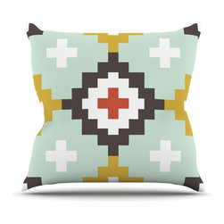 "Kess InHouse - Pellerina Design ""Gold Mint Moroccan Diamonds"" Yellow Green Throw Pillow (26"" x - Rest among the art you love. Transform your hang out room into a hip gallery, that's also comfortable. With this pillow you can create an environment that reflects your unique style. It's amazing what a throw pillow can do to complete a room. (Kess InHouse is not responsible for pillow fighting that may occur as the result of creative stimulation)."