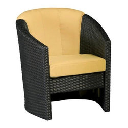 Home Styles Riviera Harvest All-Weather Wicker Barrel Accent Chair - Bright and contemporary, the Home Styles Riviera Harvest All-Weather Wicker Barrel Accent Chair is not only beautiful, but also extremely comfortable. Fade-, moisture-, and weather-resistant resin wicker is crafted from Cycroplene that is 100% recyclable as well as moisture- and weather-resistant. Strong and durable, this chair has a rust-resistant, powder coated aluminum frame with pieces that bolt together for added support and sturdiness. Available in a deep, warm brown with gold streaks which are accented by the harvest colored cushions, this chair is easy to maintain with mild soap and water. With cushions made from polyurethane with a polyester fiber wrap that is soft to the touch, you'll be able to rest comfortably for hours. Adjustable levelers are designed to accommodate uneven surfaces so you won't have to worry about uncomfortable rocking. Designed to show off your flair for color and style, you'll love having this chair as a part of your outdoor decor.Additional FeaturesCycroplene construction is 100% recyclableCycroplene is moisture- and weather-resistantEasy to maintain with mild soap and waterAdjustable levelers accommodate uneven surfacesPieces bolt together for added support and sturdinessAbout Home StylesHome Styles is a manufacturer and distributor of RTA (ready to assemble) furniture perfectly suited to today's lifestyles. Blending attractive design with modern functionality, their furniture collections span many styles from timeless traditional to cutting-edge contemporary. The great difference between Home Styles and many other RTA furniture manufacturers is that Home Styles pieces feature hardwood construction and quality hardware that stand up to years of use. When shopping for convenient, durable items for the home, look to Home Styles. You'll appreciate the value.