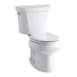 KOHLER K-3987-0 Wellworth Two-Piece Round-Front Dual-Flush Toilet with Class Fiv - Features: Two-piece toilet. Does not include the Seat.(Image is only an representation of the complete item), Round-front bowl offers an ideal solution for smaller baths and powder rooms, Left-hand nested trip lever offers a choice of 1.1 or 1.6-Gallons per flush, 2-1/8-Inch glazed trap way, Coordinates with other products in the Wellworth collection