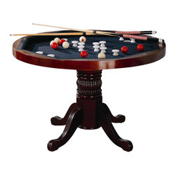 Coaster - Coaster Mitchell 3-in-1 Game Table in Cherry - Coaster - Poker Tables - 100201 - With highly functional and fun designs this three-in-one game table will make a great addition to your home. Relaxed style is demonstrated with delicate curves and charming carved detail in the pedestal base. The finished table top allows you to enjoy a casual meal or sip on your morning cup of coffee. Flip the top around and you will find a 42 inch dark green felt lined card table with cup holders and chip trays. If poker isn't your game the piece transforms into bumper pool table and includes pool sticks and balls!Features:
