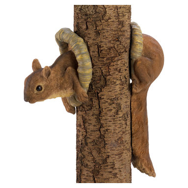 Koolekoo - Woodland Squirrel Tree Decor - Two-piece decoration creates the illusion of a mischievous squirrel poking out from a tree trunk; a merry accent indeed! Lifelike furry fellow will have visitors guessing and grinning for years.