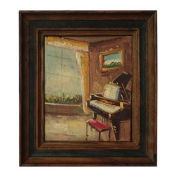 Sunny Room With Piano Oil - A very well executed impressionist painting from England. Painted in oil on canvas.