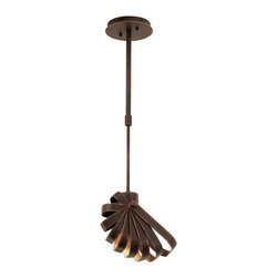 Kalco Lighting - Kalco Lighting 2950AC Brandt 1 Light Mini Pendants in Antique Copper - The Brandt Collection is full of movement and intrigue. Curved strips of metal, featured in Kalco�s exclusive Antique Copper finish, seem to pivot from side hinges to look as if they just rotated into place.  These bold, sweeping pendants are sure to add personality to any room.