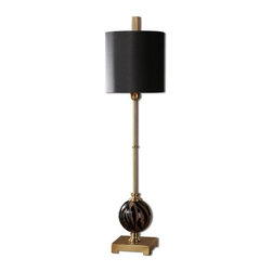 Uttermost - Amur Smoke Glass Buffet Lamp - Smoke etched glass with polished black details and plated brushed brass accents.