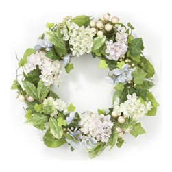 Home Inspirations Hydrangea Rosehip Wreath - I love the colors of this wreath, it's got the perfect spring feeling to it.