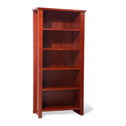 Jesper Office Furniture - 900 Series Bookcase in Cherry - This bookcase is suitable for both office and living room decor. Made of Engineered Furniture Board with High Pressure Laminate, the bookcase will serve you for years to come. The shelves are adjustable. The maximum recommended load capacity for all adjustable shelves is 25 lbs, and fixed shelves 50 lbs. Finished in Cherry. The walnut finish is available in options.