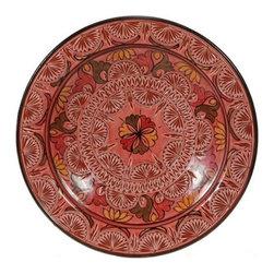 "Ceramic (Wood-fired) - Rose Carved Decorative Plate, 16"" - Rose Carved 16"" Decorative Plate"