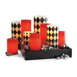 """Grandin Road - Christmas Red Battery Operated Candle - 4""""H x 3"""" dia. - No heat, smoke, or flame. Light quality strikingly similar to a wax candle. Easy on/off. Automatic 5-hour timer function. Each operates on two AA batteries (not included). Get a smokeless, festive light with our Christmas Red Battery-operated Candle. Crafted from natural wax with lifelike, flickering LEDs that create a romantic red glow.  .  .  .  .  ."""