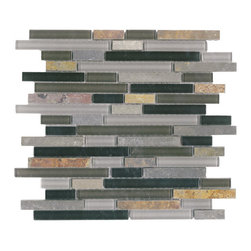 Vetro Italia Bergamo Stone and Glass Linear Mosaic Tiles, 10 Square Feet - A nice blend of glass and stone in a random strip mosaic tile. Colors include black, gray, and white glass, with a mix of colors through out the stone including rusty oranges/reds, with gray and purple.