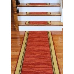 """Dean Flooring Company - Washable Non-Skid Carpet Stair Treads - Boxer Terra Cotta (13) - Washable Non-Skid Carpet Stair Treads - Boxer Terra Cotta (13) PLUS a Matching 5' Runner : Washable non-skid carpet stair treads by Dean Flooring Company. Helps reduce slips on your hardwood stairs. Great for helping your dog easily navigate your slippery staircase. Polypropylene pile with a machine washable non-skid latex backing (wash on delicate in cold water, line dry). Also easy to spot clean or vacuum. Reduces noise. Reduces wear and tear on your hardwood stairs. Each set contains 13 pieces PLUS a matching 5' runner. Each tread is approximately 25"""" x 9"""". Easy DIY installation with double-sided carpet tape (not included). Adds an attractive fresh new look to your staircase."""
