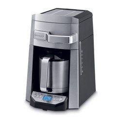 Delonghi DCF6212TTC 12-Cup Programmable Coffee Maker with Thermal Carafe - Keep your coffee warm, tasty, and ready when you need it with the Delonghi DCF6212TTC 12-Cup Programmable Coffee Maker with Thermal Carafe. This attractive coffee maker features a thermal carafe that keeps your java warm much longer than those standard glass carafes. It also provides you with the perfect cup of joe via a water filtration system and aroma button, which together work in tandem to saturate the grounds for a richer, full-flavored taste. A front-access design makes it easy to add water and fill the included gold tone filter. Other features include 24-hour digital timer, water level viewer, cup storage warmer, and generous 14-cup capacity.About De'Longhi USAFounded over a century ago when the De'Longhi family opened a workshop in Treviso, Italy the De'Longhi brand set the standard for handcrafted quality and expert craftsmanship. Three generations later, the people at De'Longhi believe design is timeless, and strive to find beauty in everyday objects to bring style to your home. Expert manufacturing is also high on their priorities. De'Longhi tests their espresso machines to ensure that tens of thousands of perfect cups can be brewed by a single machine. They put all their products through the same rigorous tests, and their factory features an entire wing devoted to product testing. De'Longhi works under the philosophy that the most beautiful product in the world is worthless if it's not built to last. Finally, De'Longhi believes design is so much more than aesthetics. Design is ways to make people's lives easier. From their patented single touch systems to self-adjusting temperature controls, they believe it's the small details that make a huge impact on how people enjoy a product.
