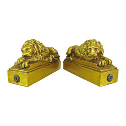 Zeckos - Golden Sleeping Lion Bookends Leo - Made of cold cast resin, this stunning pair of resting lion bookends doesn't just hold your books up, but adds a touch of style to your room. Measuring 5 inches tall, 8 1/2 inches deep, and 3 inches wide, they have a metallic golden finish that gives them the look of cast gold bars. This pair also makes a great present for the holidays or for housewarming gifts. They look great on bookshelves and on top of desks or tables.
