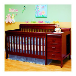 Athena - Athena Kimberly 3 in 1 Convertible Crib and Changer Combo - Cherry Multicolor - - Shop for Cribs from Hayneedle.com! Start planning for their first day in Kindergarten because when you bring home the Athena Kimberly 3 in 1 Convertible Crib and Changer Combo - Cherry you've already done about five years worth of furniture shopping for your little one's first room. The simple design of this hardwood crib hides its greatest feature the convertible design that lets you start with a crib and changing table and ends with a full-sized bed and matching nightstand. The non-toxic glossy finish in classic cherry has timeless appeal and the straight lines and subtle curves on the feet and edges make this a classy set to start life with. All the pieces that you need to make the change to the bed/nightstand combo are included. About AFG AFG might not be the biggest company in the world but for over two decades they have been striving to be one of the best. While other crib designers focus on fashionable designs and aesthetic features AFG dedicates the majority of its resources toward quality assurance consumer safety and customer satisfaction. AFG is an American-owned family business and supervises every single step of its manufacturing process ensuring the best and most environmentally friendly overseas production facilities. AFG believes in social responsibility by making certain that all AFG baby products use sustainable wood and by being a major contributor to nonprofit action groups such as The Compassion & Relief Foundation and the Green World Campaign.