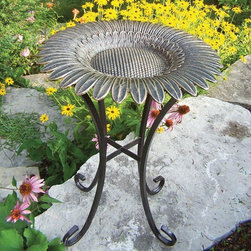 Oakland Living - Sunflower Bird Bath on Tower Base - The Sunflower Bird Bath on Tower Base is the perfect edition to any setting. It will add beauty and style to your outdoor patio, back yard, or garden. The bowl is made of rust free cast aluminum and the base is constructed of durable cast iron. Features: -Rust free cast aluminum construction. -Antique Bronze finish. -Hardened powder coat. -Easy to follow assembly instructions and product care information. -Stainless steel or brass assembly hardware. -Fade, chip and crack resistant. -Some assembly required.