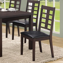 "Monarch Specialties - Monarch Specialties Side Chair in Cappuccino (Set of 2) - These 38"" high cappuccino side chairs accentuate the dining table with their simple rectangular lattice design. These leather-look chairs are exquisitely cushioned for your utmost comfort. They undeniably add style and appeal to the dining set."