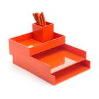 Poppin - Desktop Set, Orange - Bundle includes: Orange Letter Trays; White Accessory Tray; Orange Pen Cup; 1 box Orange Signature Ballpoints