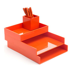 Poppin - Desktop Set, Orange - Bundle includes: Orange Letter Trays; White Accessory Tray; Orange Pen Cup; 1 box Orange Signature Ballpoints