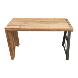 Circle Goods Reclaimed - Boxcar desk - A small desk perfect for your home office, made of reclaimed boxcar flooring with a trestle style steel base on one side. It has the look of an old rail road bridge to emphasize the history of the piece.