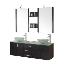 "Design Element - Design Element DEC005 Portland 61"" Double Sink - Wall Mount Vanity Set - Design Element DEC005 Portland 61"" Double Sink - Wall Mount Vanity Set in Espresso"