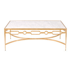 Worlds Away - Worlds Away Gold Leafed Coffee Table with White Marble Top GRACE G - Worlds Away Gold Leafed Coffee Table with White Marble Top GRACE G