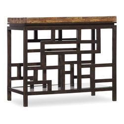 "Hooker Furniture - Hooker Furniture Socorro Chairside Table - This refined collection is crafted with wormy pine solids with railroad ties and tempered glass and metal. One glass shelf. Wormy Pine Solids with Railroad Ties and Tempered Glass and Metal. Dimensions: 28""W x 16""D x 25""H."