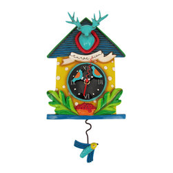 Allen Designs - Allen Designs Carpe Diem Vivid Birdhouse Pendulum Wall Clock - This whimsical birdhouse pendulum clock is called 'Carpe Diem' and is by Allen Designs. Made of cast resin, this clock features an aqua blue deer head mount on the top, and has a flying bluebird swinging back and forth at the bottom of the pendulum. The clock is hand-painted and coated in polyurethane to keep the colors bright and give it a glossy look. It measures 15 inches high, including the pendulum, and is 8 inches wide. it's a great way to add some color to a room.