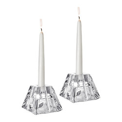 Orrefors - Plaza Candlestick/Votive (pair) - The Plaza collection, with strong cuts and bold shapes, adds a stately yet timeless touch of design to any table setting.