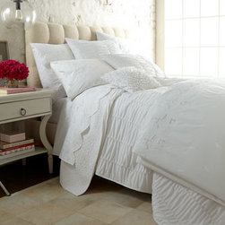 Horchow - King Fitted Sheet - White percale bedding from France is embellished with embroidered floral sprigs, foliage, and Venetian lace open work. Duvet covers, shams, and flat sheets are embellished; pillowcases and fitted sheets are not embellished. Made in France of long-stap...