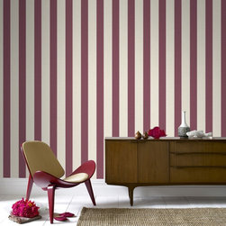 Graham & Brown - Ticking Stripe Wallpaper - A classic striped wallpaper in russet incorporates our classic Aaron texture. The small scale of this stripe gives it a very traditional feel but can equally be used in a more contemporary setting.