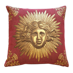 Pillow Decor Ltd. - Sun King Red Tapestry Throw Pillow - Add a regal touch to your decor. This beaming, beautiful Sun King motif (the emblem of Louis XIV) brings a sense of golden grandeur to your favorite setting.