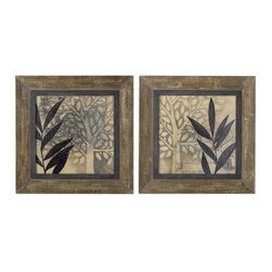 Uttermost - Uttermost 51074 New World Framed Art, Set of 2 - Uttermost 51074 New World Framed Art, Set of 2This oil reproduction features a hand applied brushstroke finish. Frame is made of heavily textured, salvaged wood with a medium woodtone base with many layers of taupe, off-white and olive green paint with a gray glaze worn thru to give an aged look.Uttermost 51074 Features: