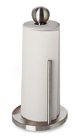 Amco Jumbo Paper Towel Holder - We know that all play and no work makes for a messy kitchen - that's why we've created great pieces for easy clean-up and storage. This paper towel holder was designed to hold even the biggest of rolls. Guide makes for easy unrolling and tearing.  Product Features      Large capacity accommodates oversized rolls   Heavy base stays put on your countertop   Built in guide makes unrolling and tearing easy   Stainless steel construction
