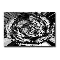 Black-Eyed Egg - Print, 24x16 - This piece began as a close-up of some of the Black-Eyed Susans in my New England garden. Flowers are forever fascinating and this just came to me as an interesting design twist playing off the black and whites.