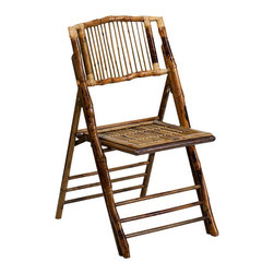 Flash Furniture - Flash Furniture American Champion Bamboo Folding Chair in Brown - Flash Furniture - Folding Chairs - X62111BAMGG - The American Champion Bamboo Folding Chair from Flash Furniture will add a unique presence to your next indoor or outdoor event. Chairs quickly setup and stack easily to be stored away until your next event.