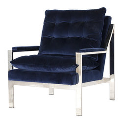 Worlds Away - Worlds Away Nickel Plated Arm Chair with Navy Velvet Cushions CAMERON NNAVY - Worlds Away Nickel Plated Arm Chair with Navy Velvet Cushions CAMERON NNAVY