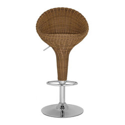 """Safavieh - Nordika Barstool - With backbone and lots of character, the full support of the beautifully crafted Nordika Barstool makes it a modern masterpiece. Constructed with brown faux wicker and chrome, it's ideal for modern or traditional interiors in need of texture and warmth. Nordika's swivel seat adjusts from 23.2"""" to 31.7""""."""