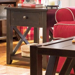 Paula Deen Home Rectangle Tobacco Wood End Table with Drawer - The Paula Deen Home Rectangle Tobacco Wood End Table with Drawer adds a touch a modern grace to your home. This end table has a linear profile with handsome X detail on the base. It's made of select hardwoods and rustic cherry veneers and has a dark tobacco brown finish that matches any decor. Right-sized for any space, this end table has a spacious top, handy drawer, and lower shelf for display.About Universal Furniture InternationalRecognized as a leader in exceptionally crafted home furnishings, including bedroom and dining room items, entertainment centers, and more, Universal strives to make items that are styled to endure but always remain fresh. They make it a goal to include features that fit the way their customers live today, and to find prices that put high-quality products within reach. These are the principles that guide the work at Universal, essential elements of good, affordable, and smart design.