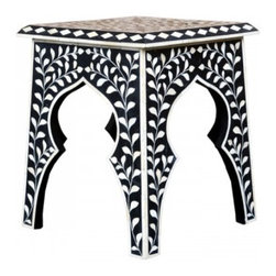 Moroccan Bone Inlay Stool - I really like this stool's bold design and graceful curves. It would work well as extra seating or an accent table.