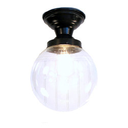 BIDDEFORD I. LARGE CLEAR SEMI FLUSH CEILING LIGHT, Antique Black - Beautiful clear-blown glass, highlighting the Edison squirrel cage bulb available directly from us. The light is soft enough for your eyes, yet illuminates the space nicely, perfect for a bath or kitchen.