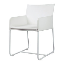 Mama Green - Zudu Dining Chair, White - The Zudu collection by Mamagreen combines FSC certified reclaimed teak, upholstery and powder coated aluminum framing to deliver a stunningly rustic contemporary look that works well in both contract/hospitality and residential settings alike. The Zudu dining chairs are available with an optional cushion but can be used with one if desired. All lounge seating cushions are comprised of QuickDry foam, Sunbrella fabrics, and Batyline sling woven into the base of both the seat rest and backrest to ensure the quick passage of moisture which will prevent the build up of mold and mildew. The teak top on the Zudu dining table is made of 100% FSC certified fine sanded and Golden Care treated reclaimed teak.