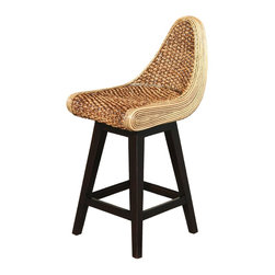 ARTeFAC - 2 - R-9119 Water Hyacinth Swivel Counter Stools - ARTeFAC presents eco-friendly swivel counter stool made of Water hyacinth. This plant is highly renewable, incredibly durable and pleasing to the touch. The fibrous root of the plant is dried, braided and woven into various furniture pieces. These stools are individually handmade. Dark brown leg color. Set of 2.