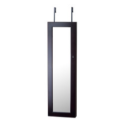 InnerSpace Luxury Products - InnerSpace Jewelry Armoire - Over-the-Door or Wall-Hang / Espresso - InnerSpace Jewelry Armoire Collection in a rich, Espresso finish.  The Over-the-Door or Wall Hang Mirrored Armoire features a black felt interior, magentized locking door clasp, silver finish hardware, three (3) large, compartmentalized trays, two (2) sliding drawers, 24 hooks for bracelets and necklaces, slots for up to 54 dangling and studded earrings, and compression folds for up to 98 rings.  A front-facing, full-length mirrored cabinet opens to reveal your entire collection, easily accessible and brilliantly displayed. Keep your jewelry organized and out of sight; avoid frantic searches through a mess of tangled necklaces and endless sorting to find a matching pair of earrings.  All mounting hardware is included, giving you the option to hang the armoire from the wall or over any door. Closed armoire is 15L x 3.5W x 47H.  One Year Manufacturer Limited Warranty.